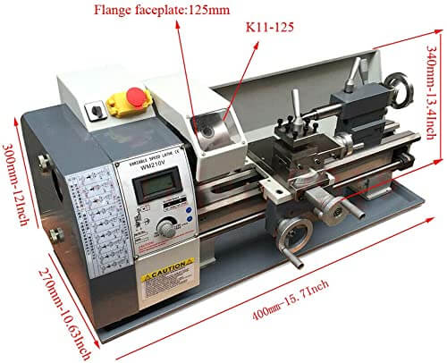 Techtongda Precision Inch Thread Metal Lathe Brushless Motor Bench Turning Machine 110V (8x16inch WM210V)